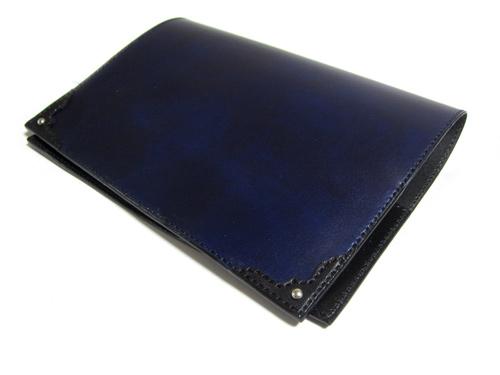 ネイビー x ブラックB6ブックカバー