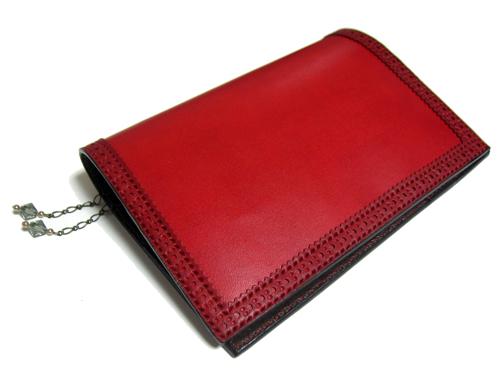 赤の本革手帳カバー