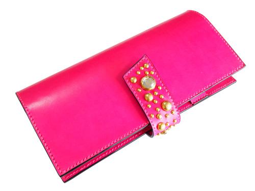 ピンクの本革手帳カバー